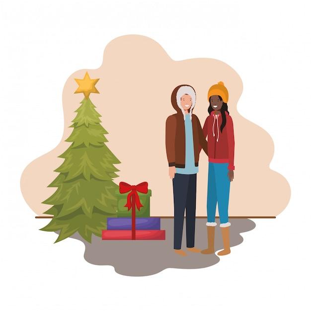 Пара с елкой и подарками Premium векторы