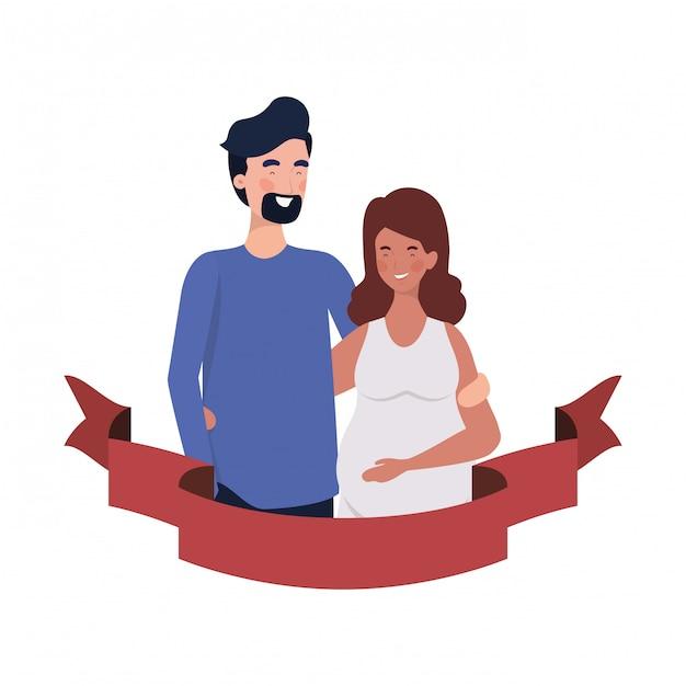 装飾的なリボンと夫と妊娠中の女性 Premiumベクター