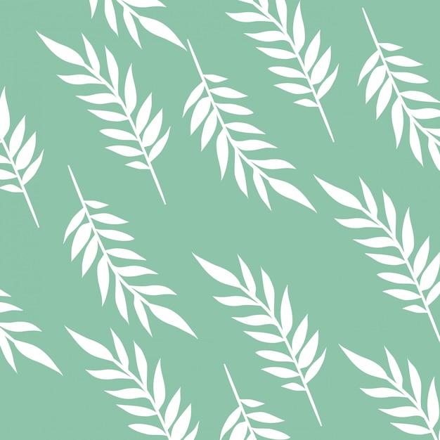 白い背景の葉と枝のパターン Premiumベクター