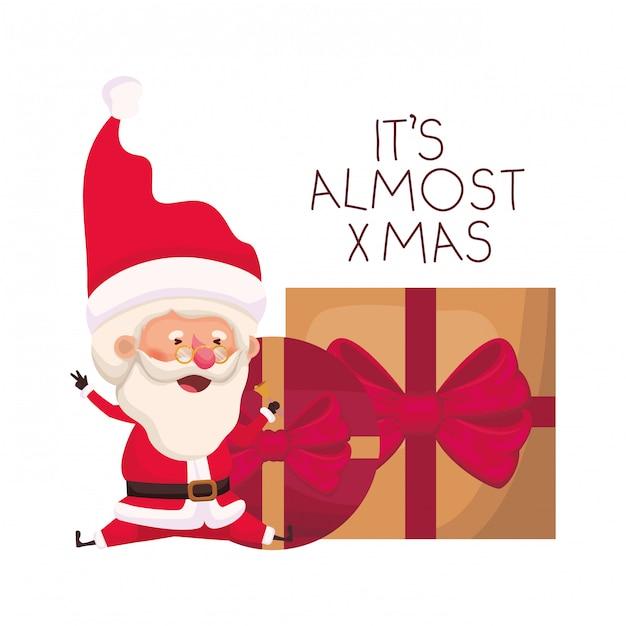 Дед мороз с подарками коробки аватар персонажа Premium векторы