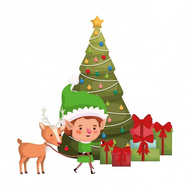 トナカイとクリスマスツリーのアバターキャラクターとエルフ Premiumベクター