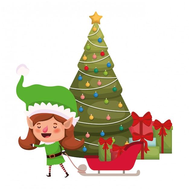 トナカイとクリスマスツリーのエルフ女性 Premiumベクター