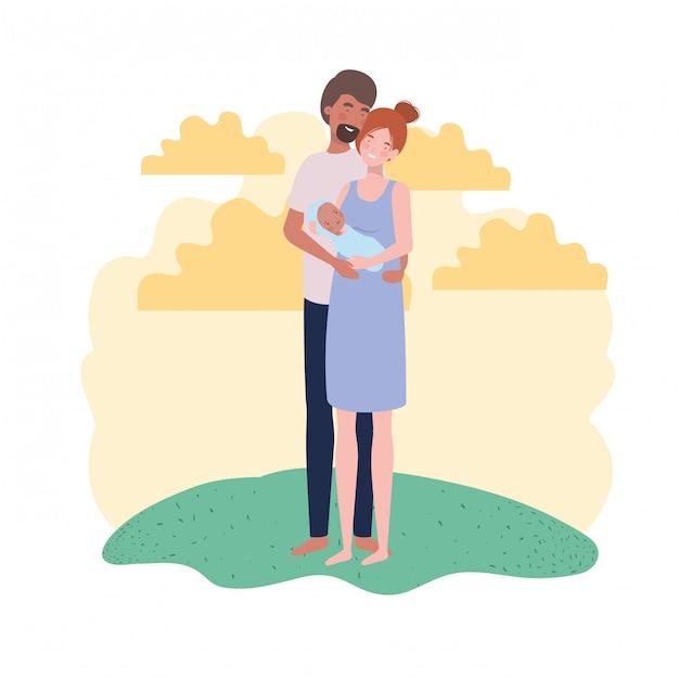 Изолированные мать и отец с ребенком Premium векторы