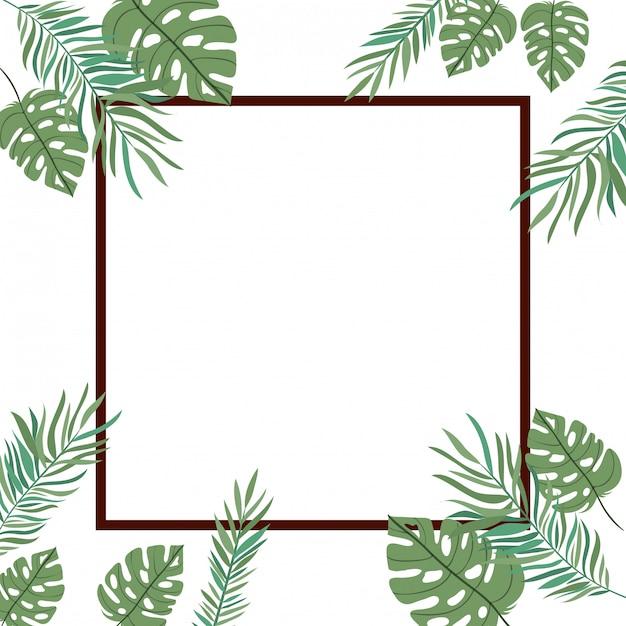白い背景の夏の葉と枝のフレーム Premiumベクター