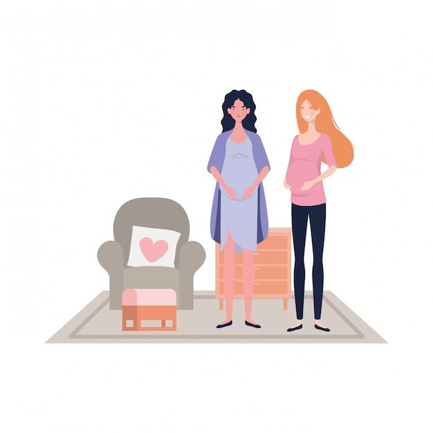 孤立した妊娠中の女性の図 Premiumベクター