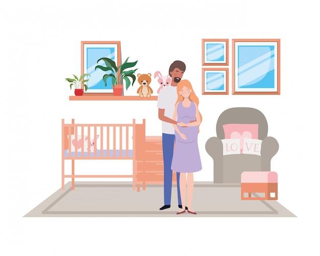 孤立した妊娠中の女性と男性 Premiumベクター