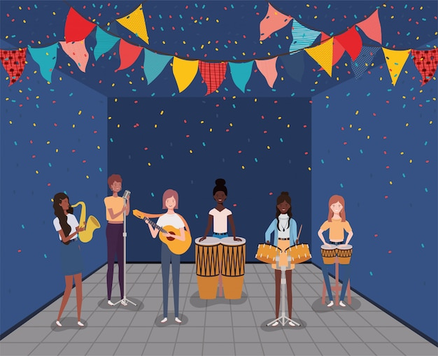 楽器のキャラクターを演奏する女性の異人種間のグループ Premiumベクター