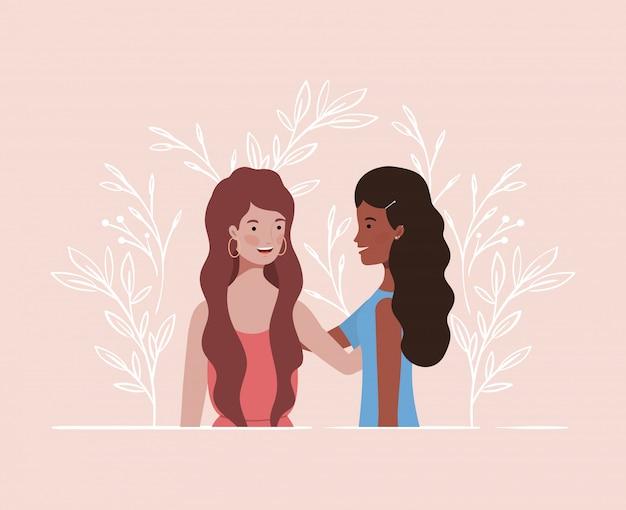 若くて美しい異人種間の女の子カップルキャラクター Premiumベクター
