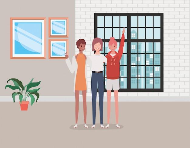 Группа молодых и красивых девушек в доме Premium векторы
