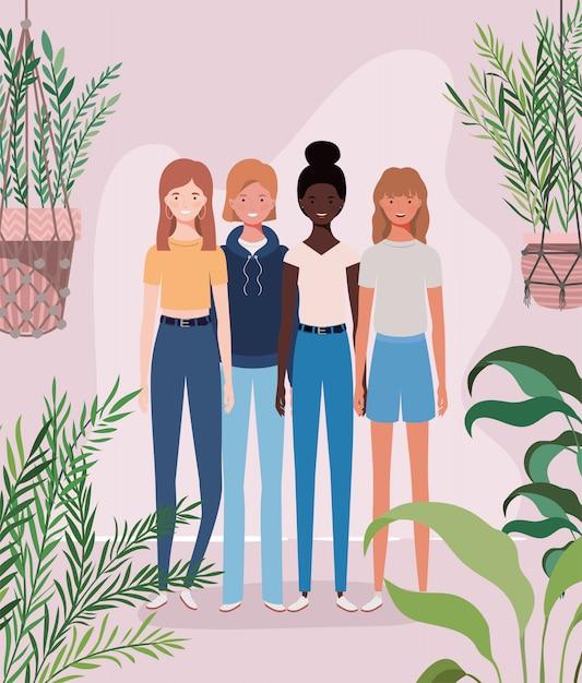 庭のキャラクターの若い異人種間の女の子グループ Premiumベクター