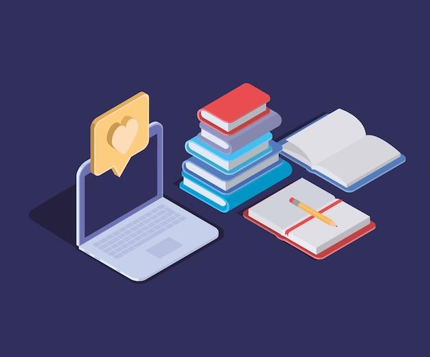 ラップトップを使用したオンライン教育技術 Premiumベクター