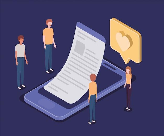 スマートフォンとミニの人々とのオンライン教育 Premiumベクター