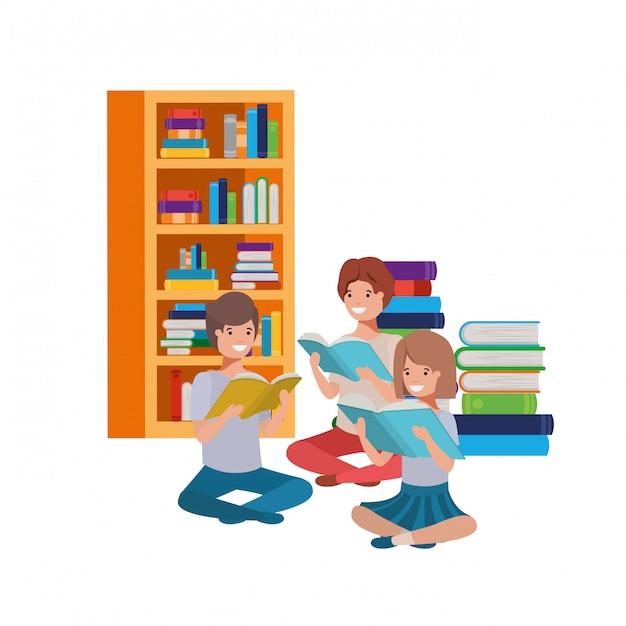 書籍のスタックで座っている人々のグループ Premiumベクター