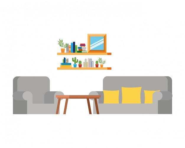 ソファと本の本棚付きのリビングルーム Premiumベクター