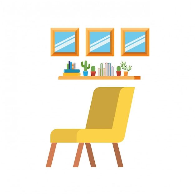ソファと本のスタック付きのリビングルーム Premiumベクター
