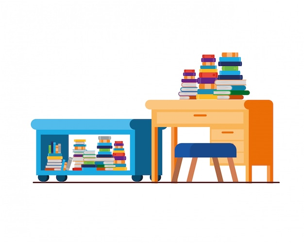 机と本付きのリビングルーム Premiumベクター
