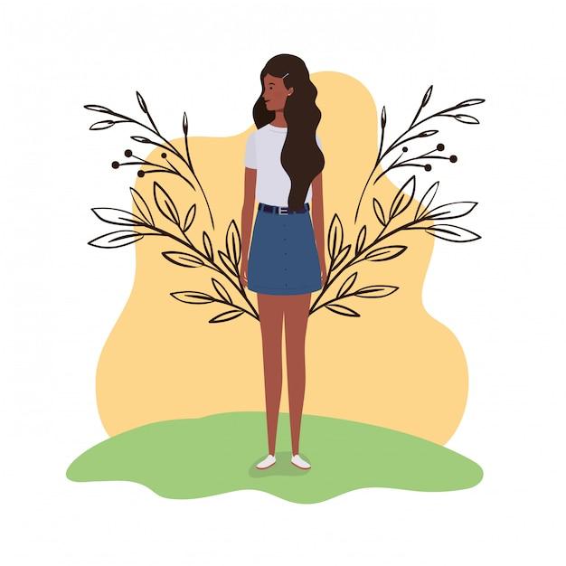 風景イラストで立っている若い女性 Premiumベクター