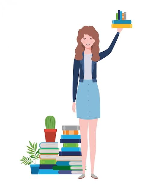 書籍のスタックで立っている女性 Premiumベクター