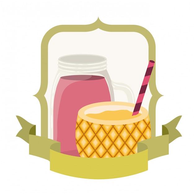 Ананасный коктейль на лето на белом Premium векторы