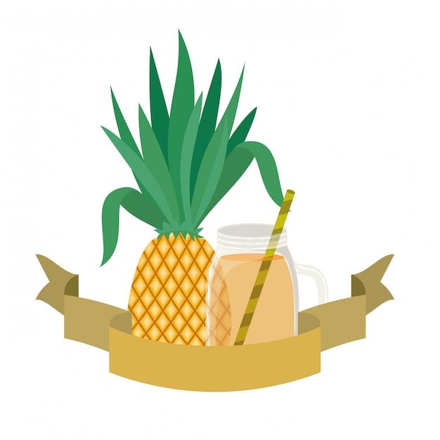 パイナップルとストロードリンクのグラス Premiumベクター
