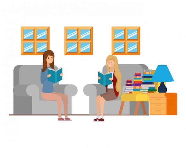 リビングルームで手に本を持つ女性 Premiumベクター