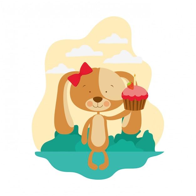 心とケーキでかわいい子犬 Premiumベクター