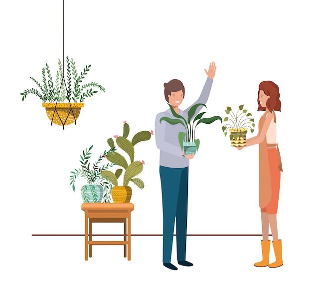 マクラメハンガーに観葉植物をカップルします。 Premiumベクター