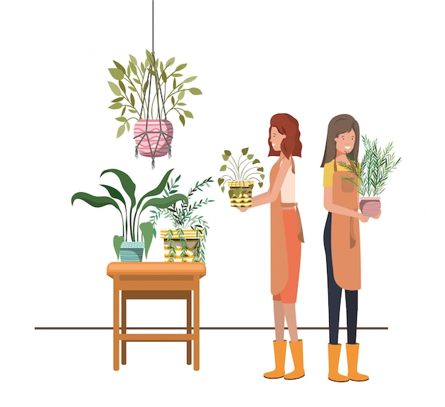 観葉植物のアバターキャラクターを持つ女性 Premiumベクター