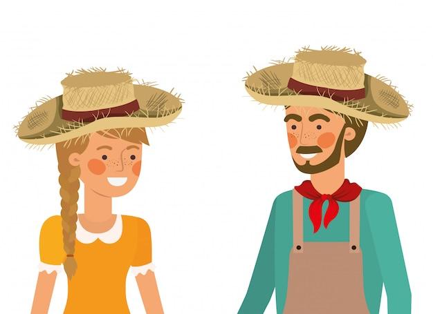 麦わら帽子と話している農夫カップル Premiumベクター