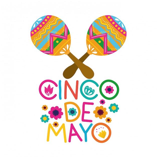 Синко де майо этикетка с иконой марака Premium векторы