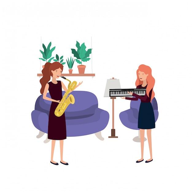 Женщины с музыкальными инструментами в гостиной Premium векторы