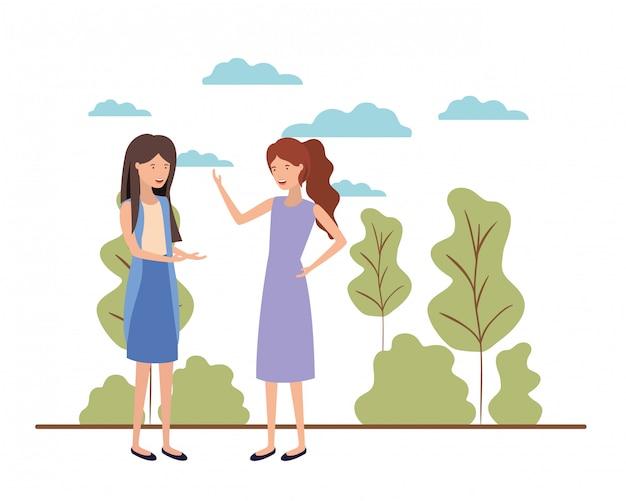 Молодые женщины с пейзажным аватаром Premium векторы