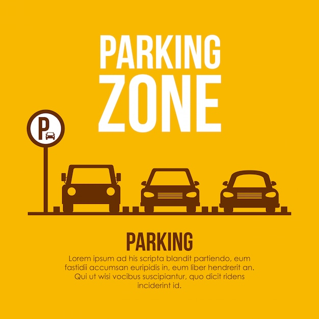 黄色のイラスト上の駐車場の設計 Premiumベクター