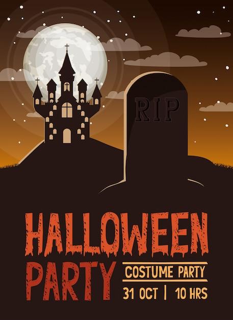 Празднование хэллоуина с кладбищем и замком Premium векторы