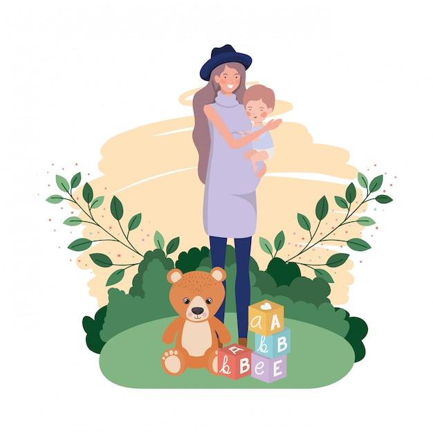 Симпатичная беременная мама с маленьким мальчиком в лагере Premium векторы