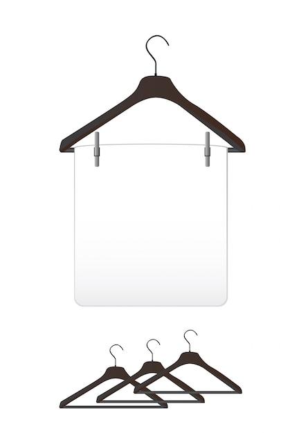 白で黒い服をハンガー Premiumベクター