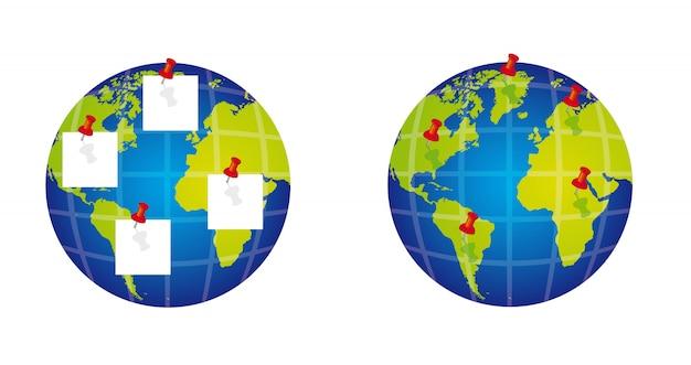 Планета с канцелярской кнопкой на белом фоне Premium векторы