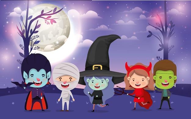 Хэллоуин с детьми в темной ночной сцене Premium векторы