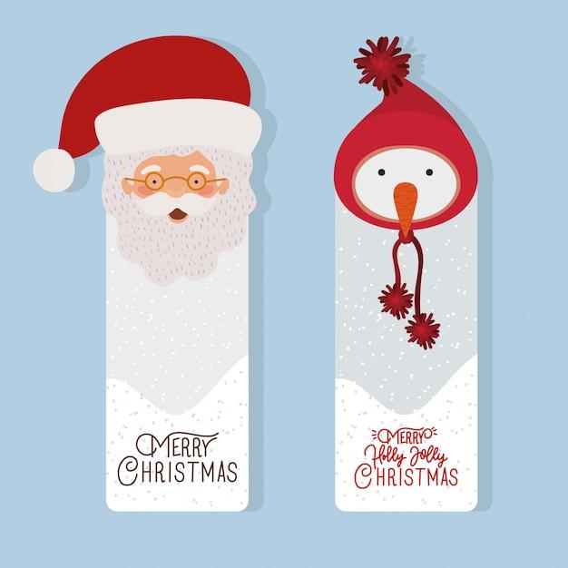 Счастливого рождества сцена с санта-клаусом и снеговиком Premium векторы