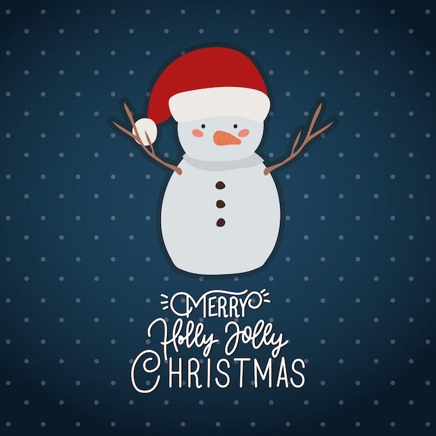 Счастливого рождества сцена с характером снеговика Premium векторы