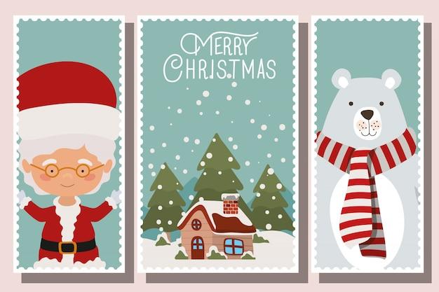 Счастливого рождества баннеры с персонажами Premium векторы