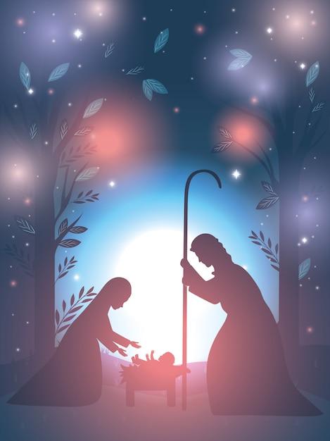 キリスト降誕のシーンで聖ヨセフとマリア処女 Premiumベクター