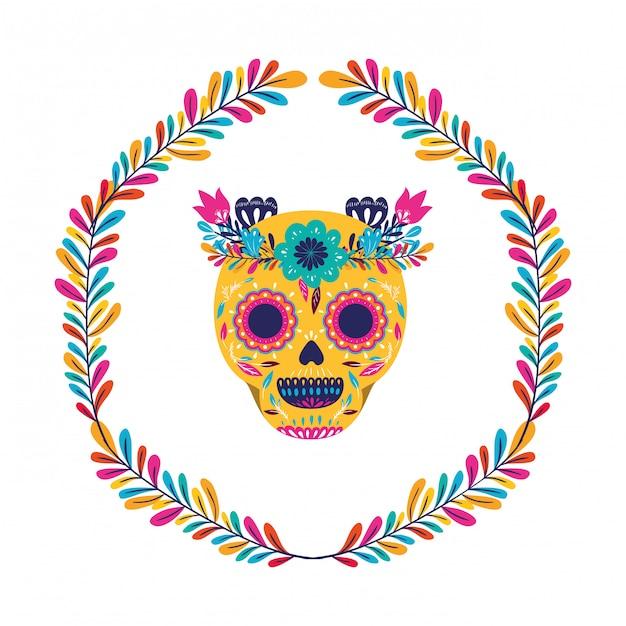 Мексиканский череп с цветочным дизайном короны, мексиканская культура, туризм, ориентир, латынь, вечеринка, тема, векторная иллюстрация. Premium векторы