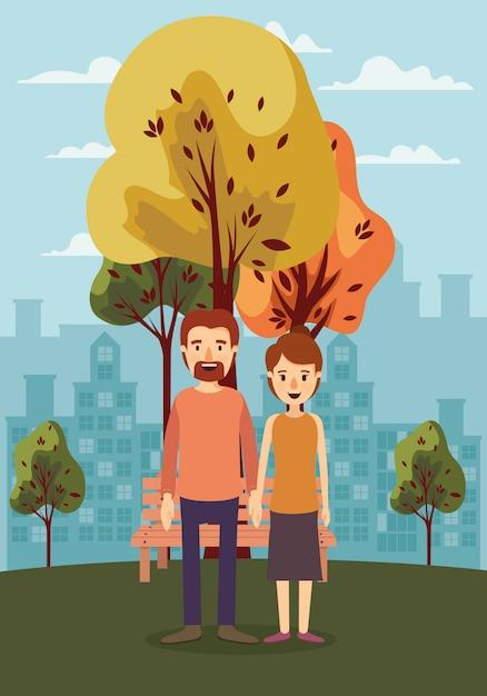 Пара женщина мужчина деревья и скамейка Premium векторы
