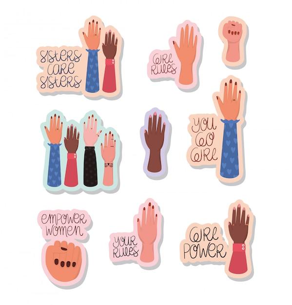 Набор наклеек для рук и текстов посвящения женщин. женская сила феминистская концепция Premium векторы