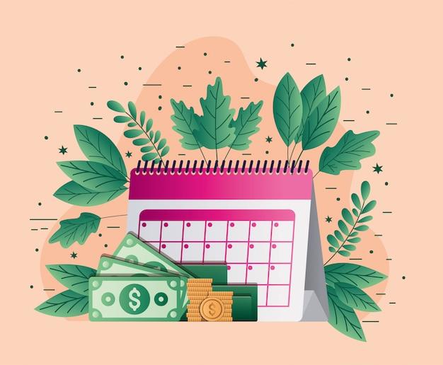Налоговый календарь счета монеты и листья вектор дизайн Premium векторы