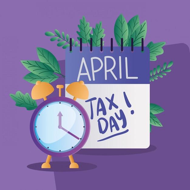 Календарь налоговых дней и часы Premium векторы