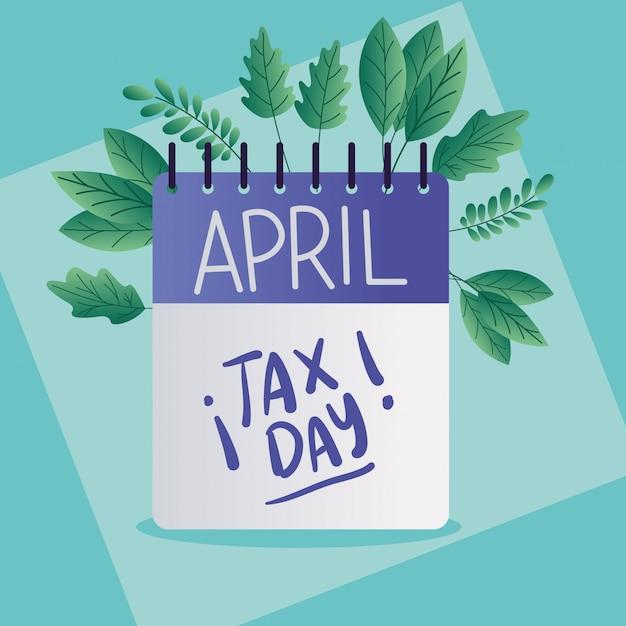 Календарь налоговых дней и листьев Premium векторы