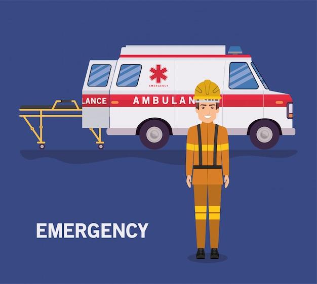 救急車の担架と消防士のデザイン Premiumベクター