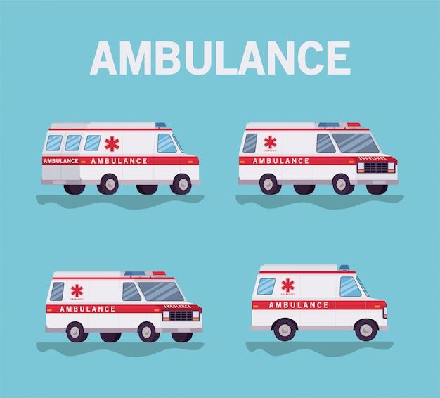 救急車の救急車の側面図デザイン Premiumベクター